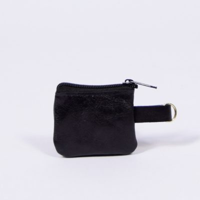 Schwarzer Leder-Schlüsselanhänger