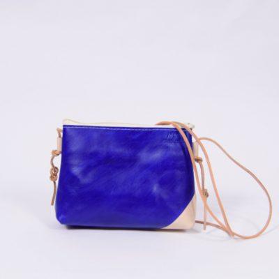 Creme-blaue Leder-Handtasche