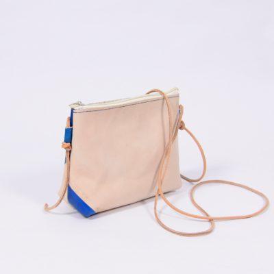 Braun-blaue Leder-Handtasche