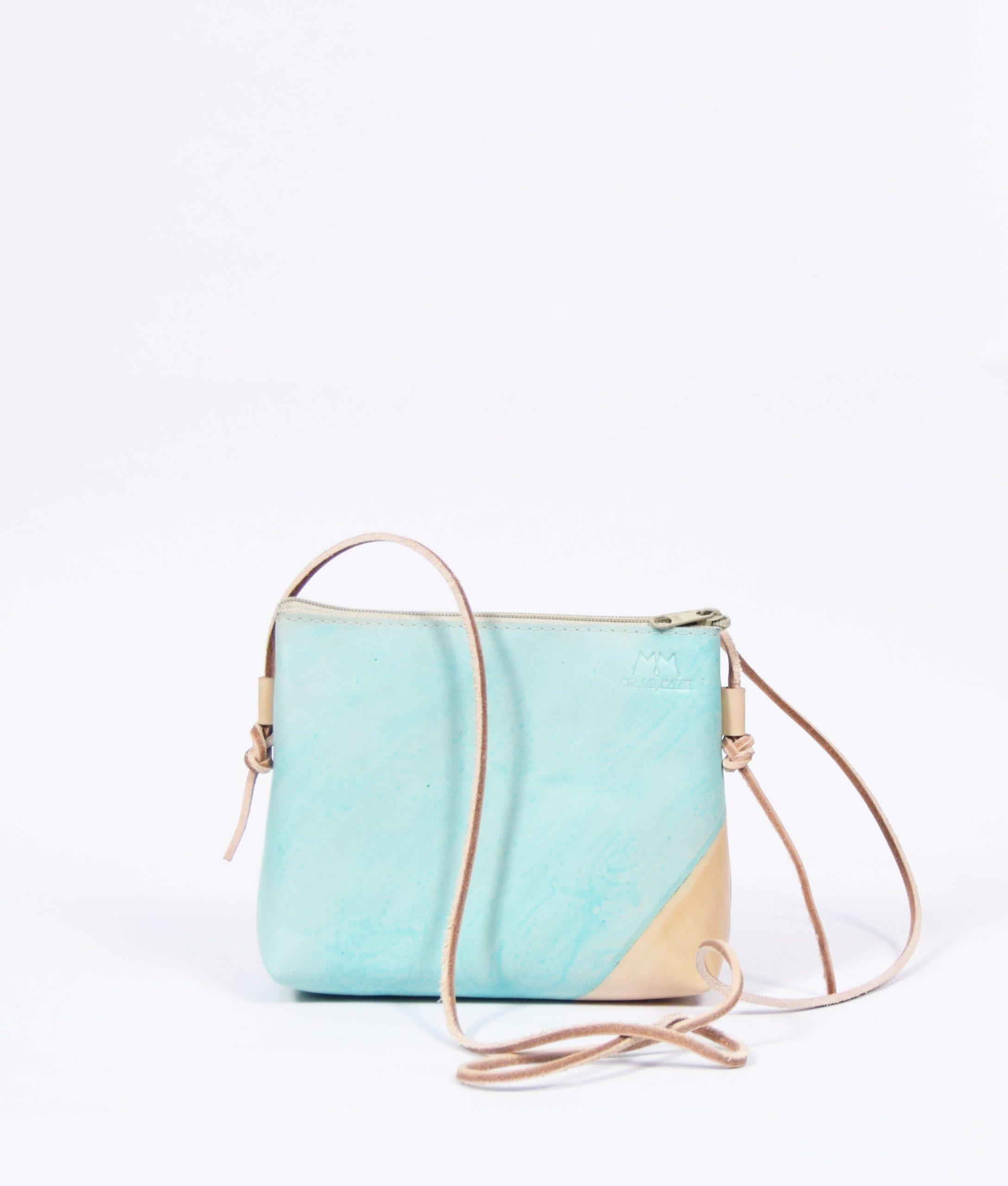 Braune und mintfarbene Leder-Handtasche