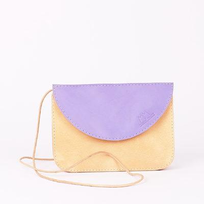Braun-lila Lederhandtasche