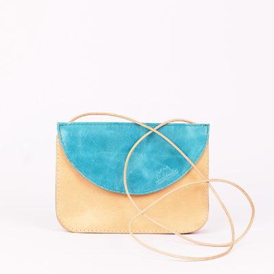 Braun-türkise Lederhandtasche
