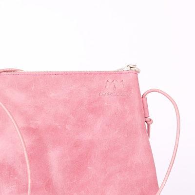 Rosa Leder-Handtasche