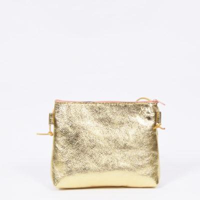Goldene Ledertasche aus Metallic-Kalbsleder mit rosa Reißverschluss
