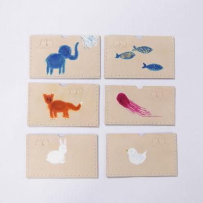 Handbemalte EC-Karten-Etuis aus Leder mit Tiermotiven