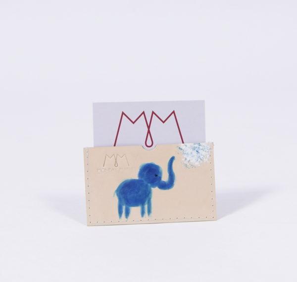 Handbemaltes Ec-Kartenetui aus Leder mit Elefanten-Motiv