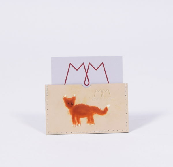 Handbemaltes EC-Karten-Etui aus Leder mit Fuchs-Motiv