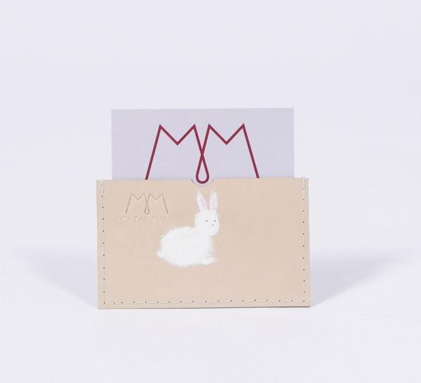 Handbemaltes EC-Karten-Etui aus Leder mit Hasen-Motiv