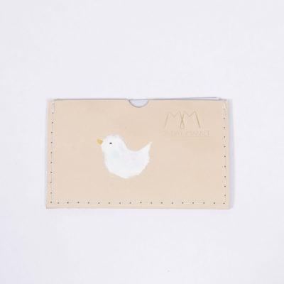 Handbemaltes EC-Karten-Etui aus Leder mit Vogel-Motiv